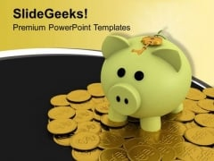 Key With A Piggy Bank And Coins Banking PowerPoint Templates Ppt Backgrounds For Slides 1212