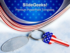 Key With Chain Americana PowerPoint Templates And PowerPoint Backgrounds 0511