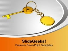 Key With Chain Security Achievement PowerPoint Templates Ppt Backgrounds For Slides 0213