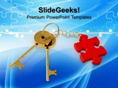 Key With Puzzle Piece Finance PowerPoint Templates And PowerPoint Themes 1012