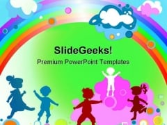 Kids And Rainbow Entertainment PowerPoint Templates And PowerPoint Backgrounds 0511