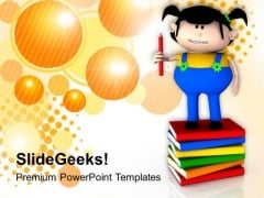 Kids Enjoy Reading Books PowerPoint Templates Ppt Backgrounds For Slides 0613