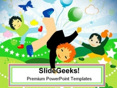 Kids Playing Holidays PowerPoint Templates And PowerPoint Backgrounds 0311