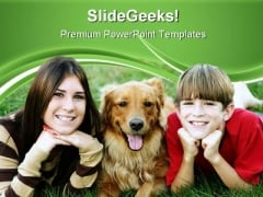 Kids With Dog Children PowerPoint Templates And PowerPoint Backgrounds 0511