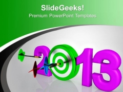 Knock Out New Year Target PowerPoint Templates Ppt Backgrounds For Slides 0113