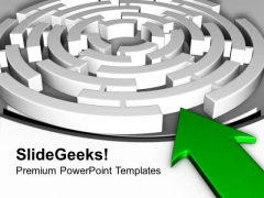 Labyrinth With Green Arrow Business Concept PowerPoint Templates Ppt Backgrounds For Slides 0313