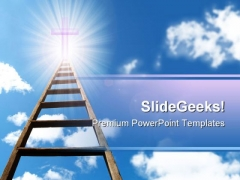 Ladder In Sky Religion PowerPoint Template 0610