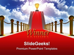 Ladder With A Red Carpet Success PowerPoint Themes And PowerPoint Slides 0211