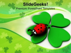 Lady Bug Over A Leaf Green Celebration PowerPoint Templates Ppt Backgrounds For Slides 0313