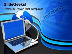 Laptop And Earth Globe PowerPoint Templates And PowerPoint Themes 0612