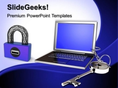 Laptop And Key Chain Security PowerPoint Templates And PowerPoint Themes 0712