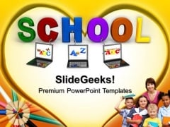 Laptop Connected To School Education PowerPoint Templates And PowerPoint Themes 0712