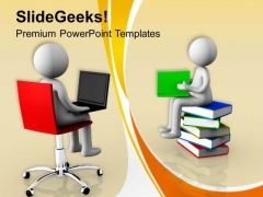 Laptop Has Replaced Books Technology Theme PowerPoint Templates Ppt Backgrounds For Slides 0413