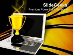 Laptop Trophy Events PowerPoint Templates And PowerPoint Themes 0712