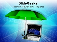 Laptop Under Protection Security PowerPoint Templates And PowerPoint Themes 1112