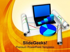 Laptop With Bar Graph And Pie Chart PowerPoint Templates Ppt Backgrounds For Slides 0713