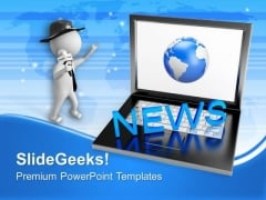 Laptop With News Journalist Globe PowerPoint Templates Ppt Backgrounds For Slides 0213