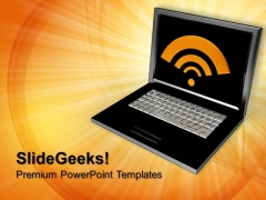 Laptop With Wifi Internet PowerPoint Templates And PowerPoint Themes 0812