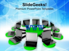 Laptops Connected With World Wide Web PowerPoint Templates Ppt Backgrounds For Slides 0713