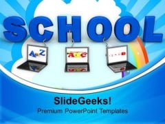 Laptops Wired To School Children PowerPoint Templates Ppt Backgrounds For Slides 0213