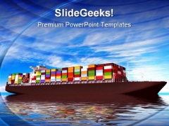 Large Container Ship Transportation PowerPoint Themes And PowerPoint Slides 0411