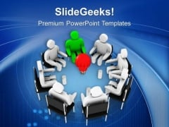 Leader Discussing Common Goal PowerPoint Templates Ppt Backgrounds For Slides 0713