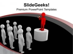 Leader Making An Announcement PowerPoint Templates Ppt Backgrounds For Slides 0713