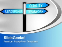 Leadership And Teamwork Signpost PowerPoint Templates Ppt Backgrounds For Slides 0313