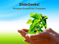 Leaf In Hands Environment PowerPoint Themes And PowerPoint Slides 0711