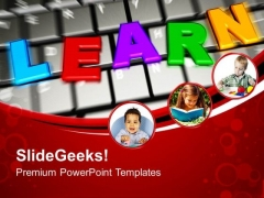 Learn On Keyboard E Learning Concept Internet PowerPoint Templates Ppt Backgrounds For Slides 1212