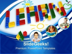 Learn With Lego Blocks Education PowerPoint Templates And PowerPoint Themes 0812