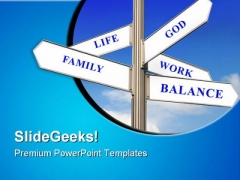 Life Work And Balance Signpost Metaphor PowerPoint Themes And PowerPoint Slides 0911