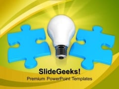 Light Bulb And Blue Puzzle PowerPoint Templates And PowerPoint Themes 0912