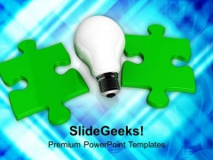 Light Bulb And Green Jigsaw Puzzles Business PowerPoint Templates And PowerPoint Themes 1112