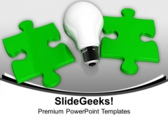 Light Bulb And Green Puzzle PowerPoint Templates Ppt Backgrounds For Slides 1212