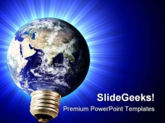Light Bulb Electricity Earth PowerPoint Templates And PowerPoint Backgrounds 0211