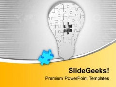 Light Bulb Of Puzzle With Missing Piece PowerPoint Templates Ppt Backgrounds For Slides 0813