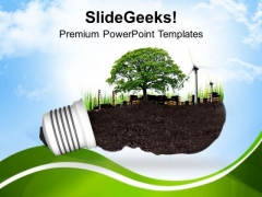Light Bulb With Ecofriendly Concept PowerPoint Templates Ppt Backgrounds For Slides 0713