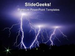 Lighting Strike Nature PowerPoint Template 0910