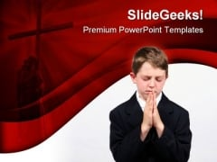 Little Boy Prayer Religion PowerPoint Template 0610