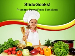 Little Chef With Vegetables Food PowerPoint Templates And PowerPoint Backgrounds 0311