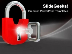 Lock With Key Security PowerPoint Themes And PowerPoint Slides 0211