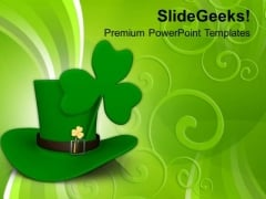 Long Hat And A Clover Leaf Saint Patrick PowerPoint Templates Ppt Backgrounds For Slides 0313