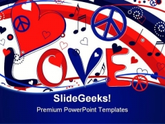 Love Peace And Hearts Symbol PowerPoint Templates And PowerPoint Backgrounds 0711