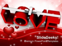 Love With Ribbon Celebration PowerPoint Templates Ppt Backgrounds For Slides 0213
