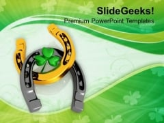Lucky Clover And Horseshoe Festival PowerPoint Templates Ppt Backgrounds For Slides 0213