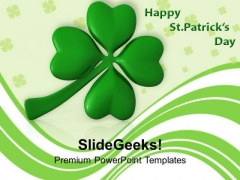 Lucky Clover Leaf Official Feast Day PowerPoint Templates Ppt Backgrounds For Slides 0313