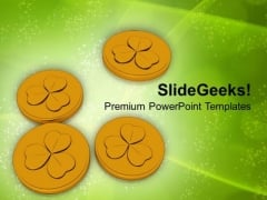 Lucky Golden Coins Wealth PowerPoint Templates Ppt Backgrounds For Slides 0213