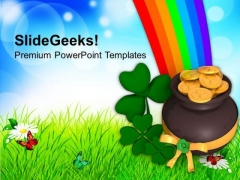 Lucky Symbol Under Rainbow Patricks Day PowerPoint Templates Ppt Backgrounds For Slides 0313