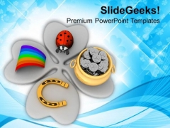 Lucky Symbols On Leaf Clover Patricks Day PowerPoint Templates Ppt Backgrounds For Slides 0313